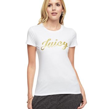 "Gold Glitter ""Juicy"" Graphic T-Shirt by Juicy Couture"