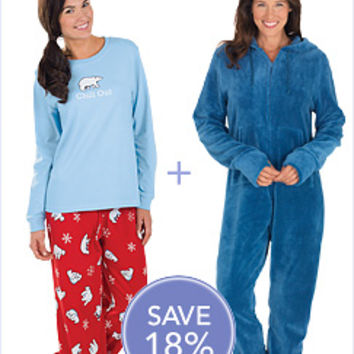 Chill Out PJs & Blue Hoodie-Footie™ for Women | PajamaGram
