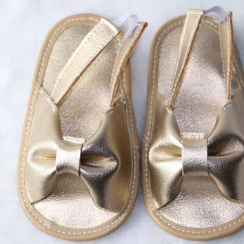 Baby Girl Bow Leather Sandals- Summer Flipflop Sandals