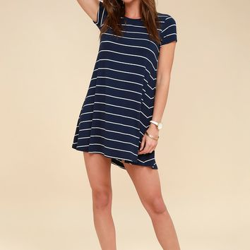 Pencil Navy Blue and White Striped Shirt Dress