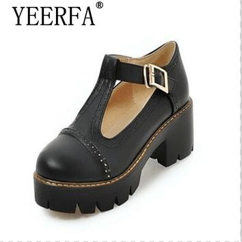 YEERFA spring Summer women shoes platform soft leather shoes big size 34-43 college wind single oxford shoes fashion contracted