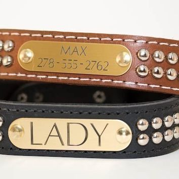 Personalized Dome Stud Leather Collar