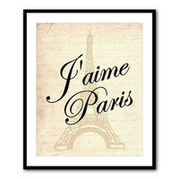 I love Paris - J'aime Paris - Eiffel Tower - typography wall art print - French script - French country - Print - Wall Art - Room decor