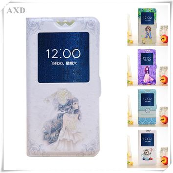 """Pixi 3 Case Luxury Painted Cartoon Flip Phone Cover funda For Alcatel One Touch Pixi3 4.5""""4027X 4027D 5017 Case With View Window"""