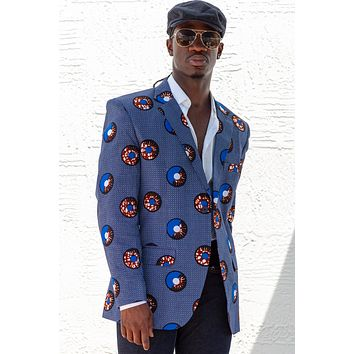 African Print Mens Blazer Jacket - Blue/White & Brown Circle(Concentric) Print