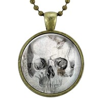 Skull Necklace, Gothic Jewelry, Goth Necklace, Halloween Necklace, Scary Spooky Pendant, Macabre Oddity Fashion