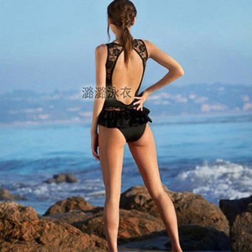 2017 Trending Fashion Women Hollow Bandage Lace Sexy Backless Solid Erotic Bikini Swim Suit Beach Bathing Suits Swimwear _ 12957