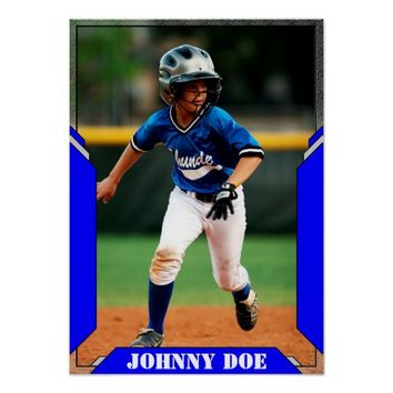 Create Your Own Custom Blue Sports Photo Poster