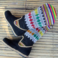 Vegan Womens Cowboy Boots In Colorful Ethnic Laos Embroidery Pull On Flat Heel 8