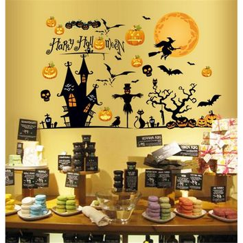 Cartoon Wall Decals Animals Peel & Stick Wallpaper, Pumpkin Castle Witch Pattern, Removable Wall Stickers For Kids Nursery G