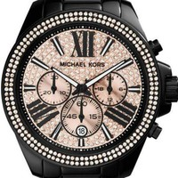 ONETOW New Michael Kors Wren Black Rose Chronograph Womens Glitz Stainless Watch MK5879