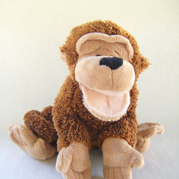 Vintage Monkey Hand Puppet Ganz Heritage Collection Plush Toy Brown Beige Children Play Show Stuffed Animal Circus Zoo Kids Parenting
