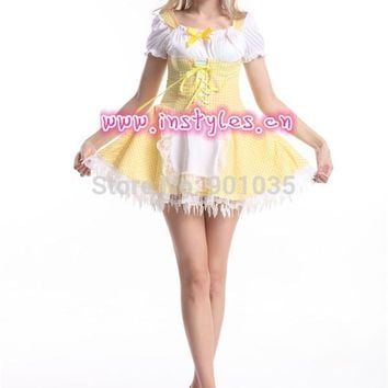 FREE SHIPPING S-2XL 84654  sexy costumes Japan yellow Ruffle Lolita Maid Outfit Cosplay  Fancy Dress halloween Costume for women