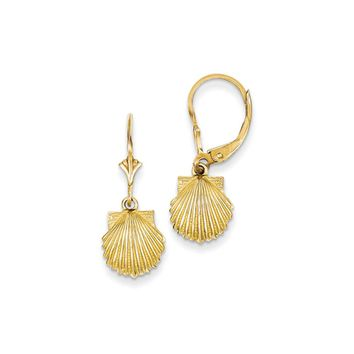 10mm Scalloped Shell Lever Back Earrings in 14k Yellow Gold