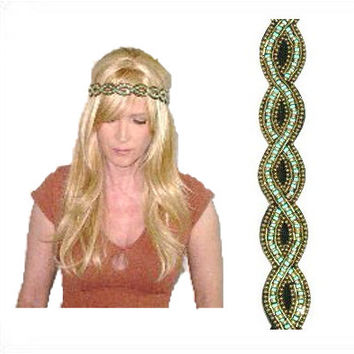 Beaded Boho Headband Turquoise & Gold Indian Seed Beads Braided Looking Tribal Hair Band