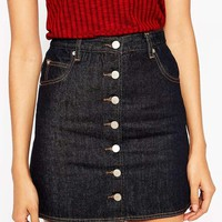 ASOS Tall | ASOS TALL Button Through Mini Skirt In Indigo at ASOS