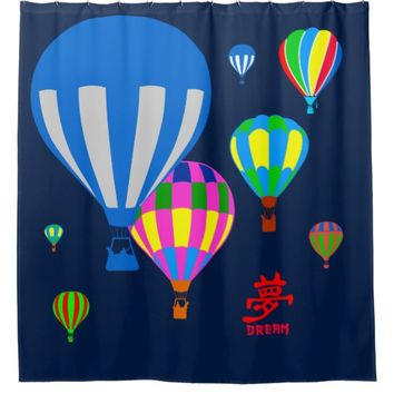 Hot Air Balloons in the sky - Dream - on blue Shower Curtain