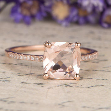 18K Rose Gold Pink Morganite Engagement Ring diamond wedding ring,8mm Cushion cut morganite ring custom made fine jewelry,promise ring for her
