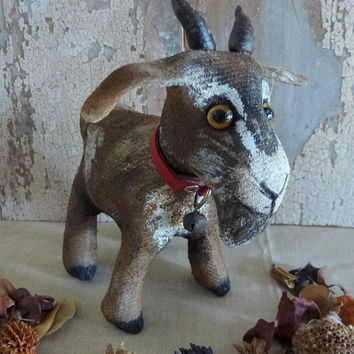 MADE TO ORDER Bilbo the goat: vintage style, soft sculpture, hand painted, fabric art doll animal (goat).