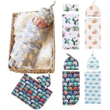 Envelope for Newborns Baby Swaddles Set with Hat Wrap Baby Blankets Girl Boy Flower Print Baby Bedding Swaddle photography prop