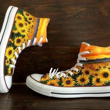 DCCK1IN wen original design sunflower shoes floral converse floral shoes painted shoes sunflow