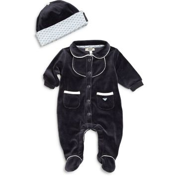 Baby Navy Blue Velour Romper & Hat (Gift Set)