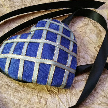 Blue Velvet Heart Shaped Eye Patch Blue Ribbon with Black Ties READY TO SHIP