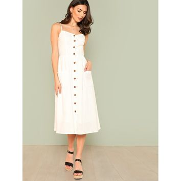 Pocket Patched Button Up Cami Dress White