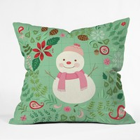Pimlada Phuapradit Mint Snowman Throw Pillow