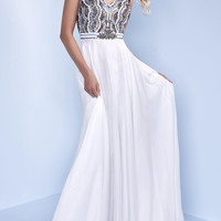 Long White Chiffon V-Neck Prom Dress