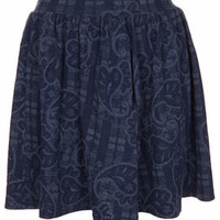 Blue Jacquard Flippy Skirt - Blue