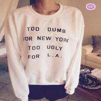 White Letter Print Pullover Sweater