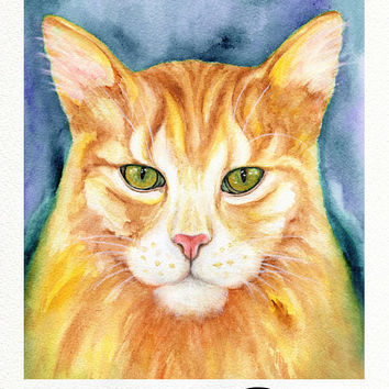 Kitty Cat, DIGITAL, Watercolor Hand Painting, Cat Wall Art Print, Cat Painting Printable Artwork Digital Print Image, Home Decor, MariyaArts