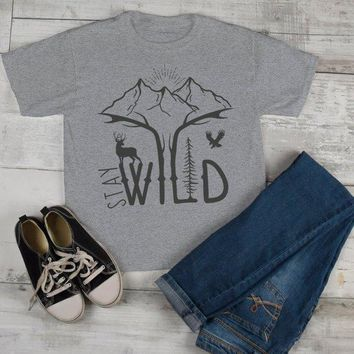 Kids Hipster Stay Wild Shirt Mountains T-Shirt Explore Antlers Graphic Tee Camping Vintage Toddler