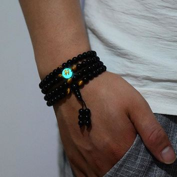 1PCS Ethnic Black Buddha Beads Bangles & Bracelets Dragon Ball Bracelet Green Glowing In The Dark Men or Women Jewelry