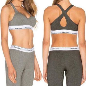 Calvin Klein Fashion Women Casual Gym Print Stretch Pants Trousers Sweatpants Vest Tank Top Two-Piece Sportswear I
