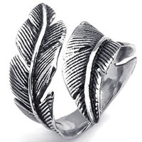 KONOV Jewelry Mens Womens Stainless Steel Ring, Vintage Feather, Black Silver