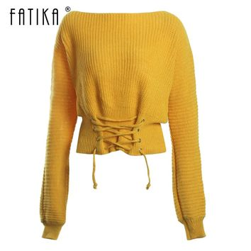 Fatika Pullover Sweater Lace up Loose Solid Sweaters Knit Slash Neck Fashion 2018 Autumn Winter Women's Clothing