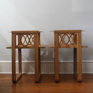 Pair of Glass & Wood End Tables