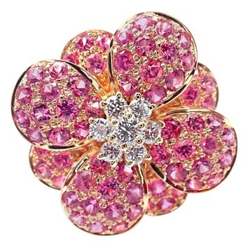 Van Cleef & Arpels Pink Sapphire Diamond Flower Rose Gold Ring