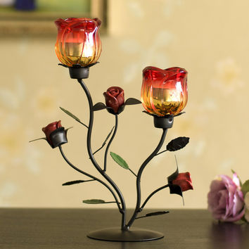 Q Romantic Candlelight Dinner Iron Candlestick Ornaments Rose Candle Holder Creative Glass Rose Flower Candle Cups