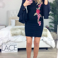 Bar Louie Black Bell Sleeved Embroidered Rose Dress