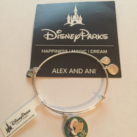 Disney Parks Mickey Santa Holiday Bangle Bracelet Silver Alex Ani New Tags