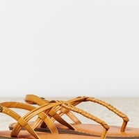 's Braided T-strap Sandal (Tan)