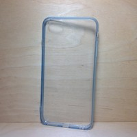 For Apple iPhone 6 Plus (5.5 inches) Light Blue Silicone Bumper and Clear Hard Acrylic Case