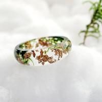 Moss ring Gold ring Gold flakes Resin ring Botanical ring Nature ring Moss necklace terrarium Silver chain Eco friendly gifts Elven forest