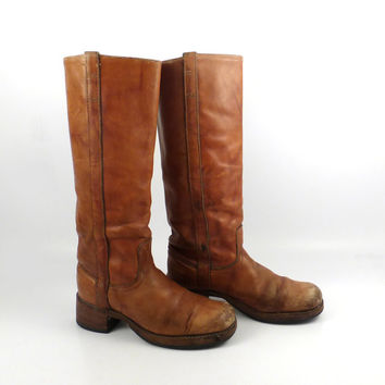Campus Leather Boots Vintage 1970s Carmel brown Cowboy Dingo Women's size 7