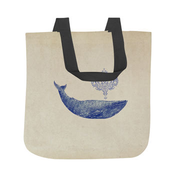 Damask Whale Tote Bag