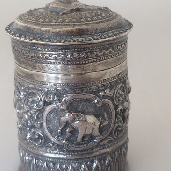 Burmese silver box, Repousse Chasing, Decorative art, Vintage Asian Myanmar Buddhist Symbols