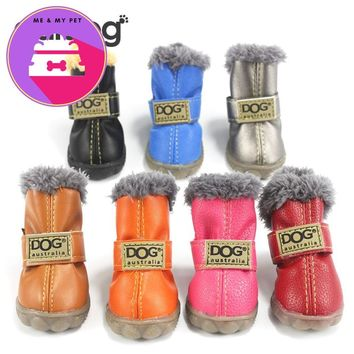 Pet Dog Shoes Winter Super Warm 4pcs/set Dog's Boots Cotton Anti Slip